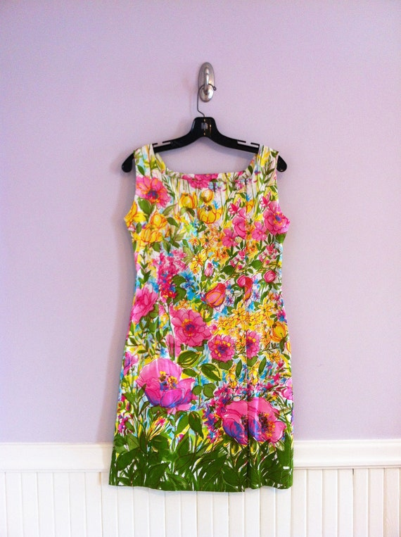 1960's -70's  Cotton Chintz Scooter Dress / Floral Summer Shift Dress