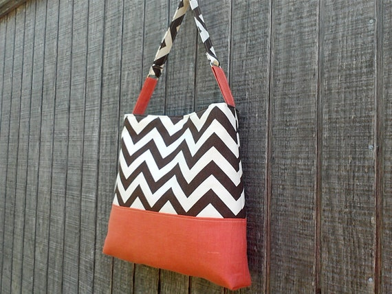 Handbag with Brown Chevron Zig Zag Pattern with Spice Orange