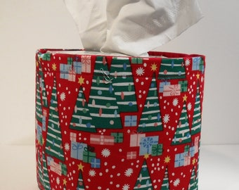 Christmas Tissue Holder-Fabric Basket Organizer Bin Storage Container-Christmas Trees and Presents on Red with Red Interior