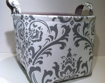 Extra Large 10 x 10 x 10 Fabric Basket Organizer Bin Storage Container- Light Gray Damask Print with Solid Light Gray Interior