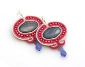 Soutache Earrings, Hand Embroidered Fuchsia Beige Earrings Soutache, Soutache Jewelry, sterling silver studs