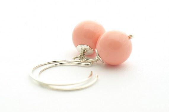 Pastel Peach Earrings, Summer color, Swarovski Pink Coral, Pearl Earrings, sterling silver 925