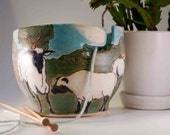 Yarn bowl with images of sheep in a field