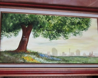 Original Watercolor Painting Framed by Alex Yamin 1984 Vintage Art Signed Dated Toronto Canada City Scape Ready to Hang