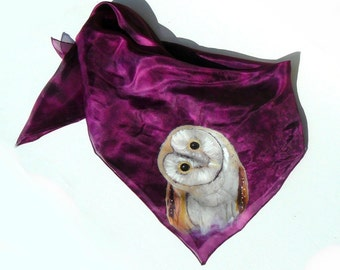 Owl silk scarf Dark purple silk scarf Painted owl scarf Handpainted silk scarf