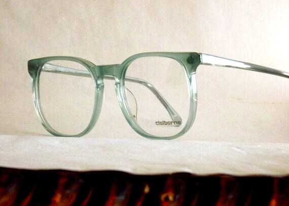 Big Eyeglasses / Preppy Eyeglasses / Pale Icy Olive Blue Semi-transparent / 80's Vintage / Liz Claiborne / Green Blue