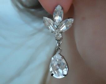 Juliette - Swarovski Crystals Wedding Earrings, Statement Drop Earrings - Ready to ship