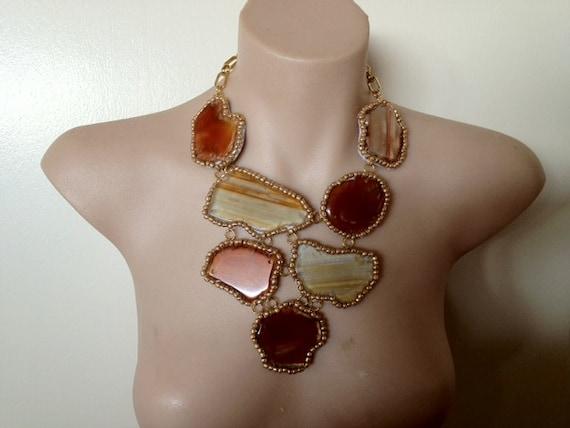 """Reserved for V MK OOAK """"Caramelised"""" caramel tone agate statement bib necklace"""