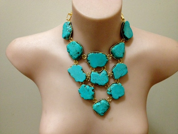 """Reserved for Laura Spectacular """"Turquoise Rocks"""" turquoise bib necklace"""