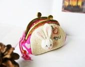 Metal frame purse, Bunny coin purse, 8.5 cm frame coin purse, bunny metal frame coin purse