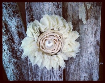 Cream Lace Hair Clip with Pearl Center Wedding Bride White Ivory BACK IN STOCK