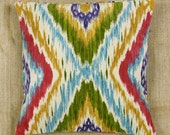 "Designer Diamond Ikat Pillow Case, 14""x14"", Rainbow"