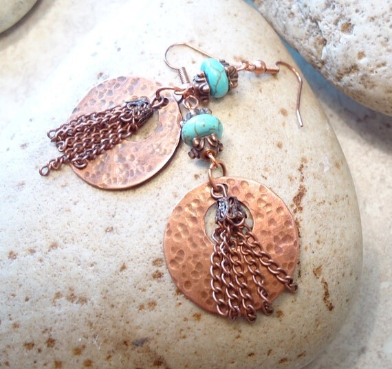 Turquoise and Beaten Copper Earrings