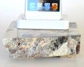 iPhone 5 white dock on a live edge white quartz stone piece