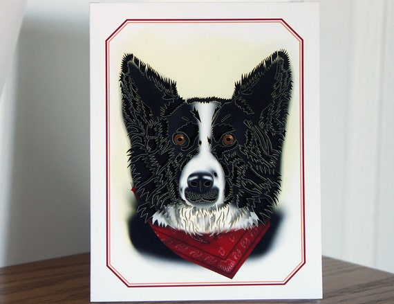 Border collie Card Paper cut card blank inside