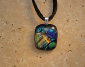 Dichroic Fused Glass Pendant - BHS01491