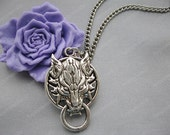 necklace---antique silver wolf necklace,Final fantasy necklace---Z272