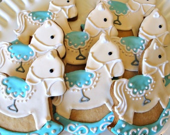 Rocking Horse Cookies Decorated Sugar Cookies Baby Shower Cookie Favors One Dozen