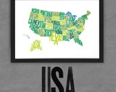 USA Font Map (Green) Limited Edition Digital Print, 420x297mm