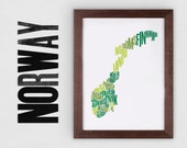 Norway Fontmap - Limited edition typographic map digital print, 297x420mm