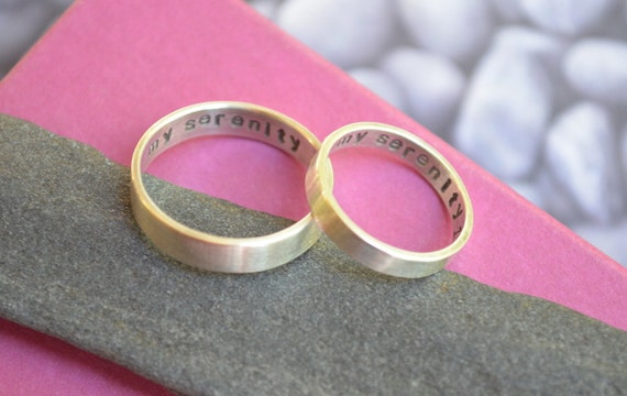 Sterling Silver Wedding Band Set with Secret Message