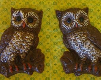 Pair of Owl Wall Hangings