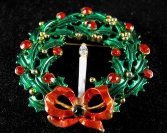 Festive Brooch Holly Christmas Wreath With Candle Red Clear Rhinestone Accents Vintage Jewelry