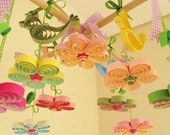 Quilling - Baby Mobile - Crib Mobile - Quilling Nursery- Baby Girl Mobiles - Baby Nursery Flowers - Quilled Handmade Baby Gift 11A.