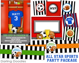 Sport Birthday Party - All Star Birthday Party - Sports Party Package - DIY Sports Invitaiton - Printable Sport Invite - DIY Birthday Party