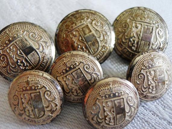 Austrian Crest  Shank Buttons. Austrian 1960's. Set of Seven.