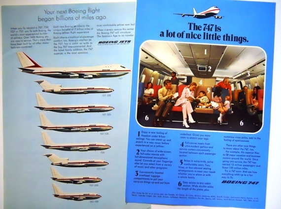 Vintage 1970's Boeing Air Plane Ads.