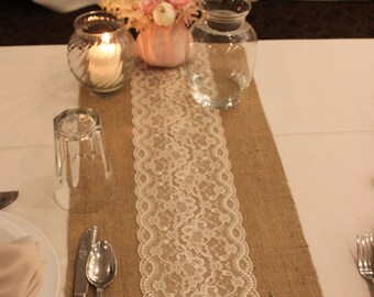 SALE 12 FT - 12 x 144 Burlap Lace Table Runner, Wedding Decor, Lace, Burlap Wedding Table Runner, Ivory