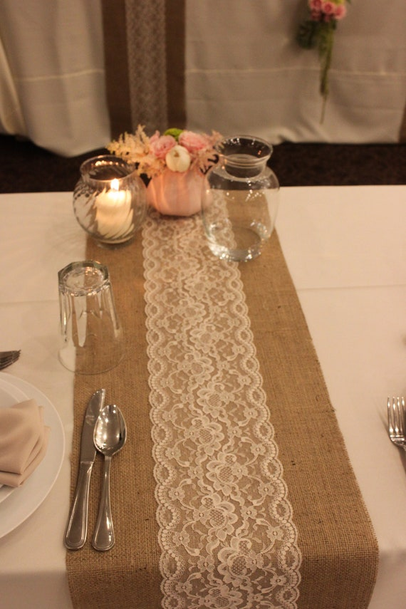 Items similar to sale 12 ft 12 x 144 burlap lace table for 12 foot table runner