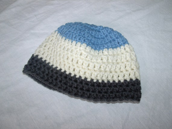Crochet Infant Baby Boy Hat 0-3 months Blue, grey and cream