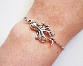 Octopus Bracelet, Charm Bracelet Octopus, Steampunk bracelet, Silver Octopus Bracelet, Octopus Jewelry, Octopus Accessories, Squirt, Kraken