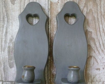 Painted Wooden Wall Sconces Candle Holders