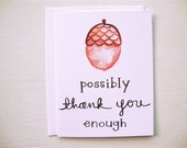 SALE - 6 Acorn Thank You Cards (set of 6)