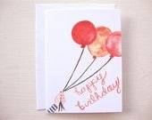 SALE - 6 Happy Birthday Balloons Cards (set of 6) Hand Painted
