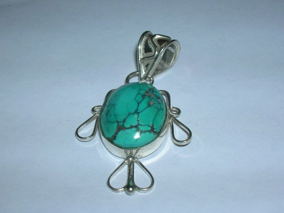 SPIDER WEB TURQUOISE Set In Sterling Silver Pendant