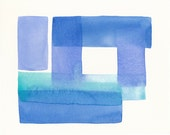 original watercolor painting, soft architecture series, blues in balance
