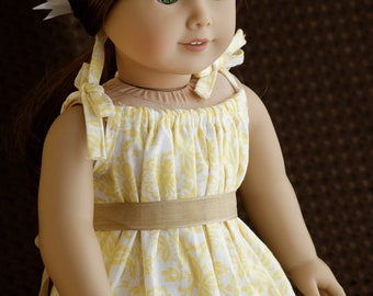 """Doll Clothes Girl American 18"""" Dress Flowery Yellow Peasant Style Sundress with Flower Hair clip"""