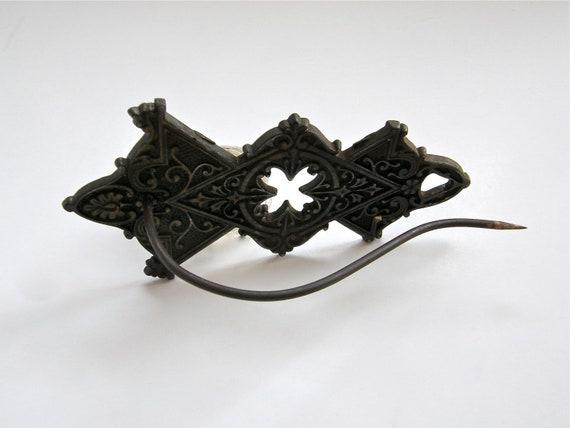 Antique Message Hook - Brass Plated Cast Metal