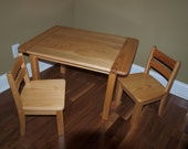 Childrens Farmhouse Table & Chair Set With Clear Cote Finish