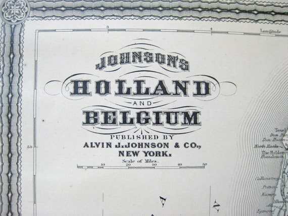 1882 Antique Map of Holland and Belgium