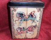 1984 Enesco Tin with Carousel Horses Jester and Train 6x8 tall