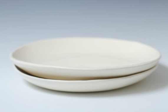 Handmade Shallow Bowls Plates 8 9 Inches Wide 2 Piece