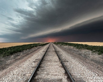 Railroad Tracks Lead to a Severe Thunderstorm on the Horizon Near Goodland, Kansas