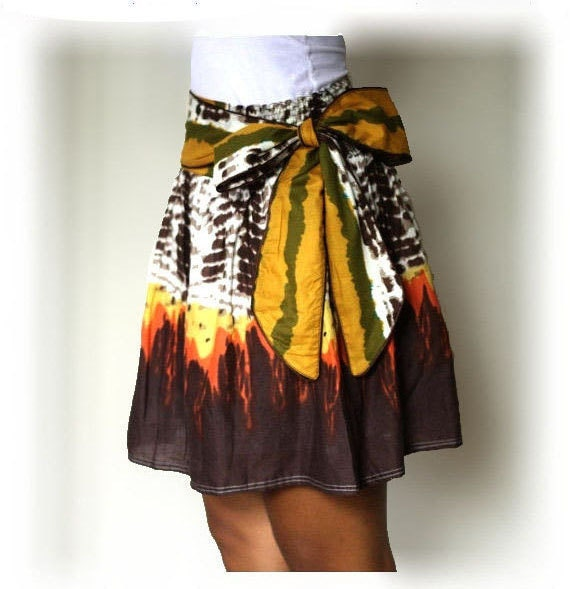 Burn Orange and Brown Mini Skirt with sash Belt
