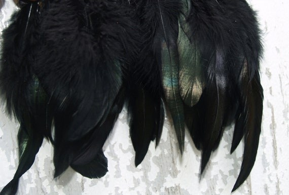 One Yard  Black Iridescent Rooster Coque Hackle Feather Trim Fringe  Height 5-6''