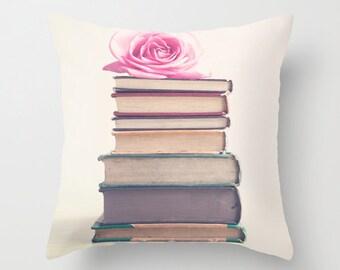 Dorm Decor, Pillow cover, rose pillow, flower pillow, book pillow, pink pillow, rose quartz, girl nursery decor, book art, couch pillow